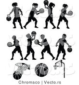 Vector of 11 Unique Silhouetted Basketball Designs by Chromaco