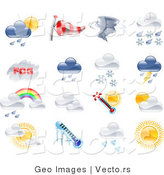 Vector of 16 Unique Weather Icons by AtStockIllustration