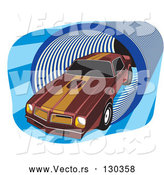 Vector of 1977 Dark Red Pontiac Trans Am with Orange Racing Stripes on the Roof and Hood, Driving Through a Blue Tunnel by David Rey