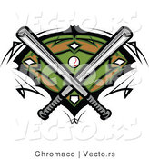 Vector of 2 Baseball Bats Crossed over a Field and Ball by Chromaco