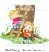 Vector of 2 Boys Climbing a Ladder to a Tree House by BNP Design Studio
