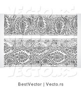 Vector of 2 Elegant Floral Borders - Black and White Digital Collage by BestVector