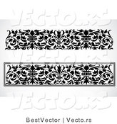 Vector of 2 Unique Black and White Vase and Vines - Digital Collage Border Elements by BestVector