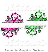 Vector of 2 Unique Thistle Vines and Flowers with Blank Copy Space Background - Digital Collage by Vector Tradition SM
