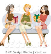 Vector of 2 Young Ladies Giving Their Pregnant Friend Presents at a Baby Shower by BNP Design Studio