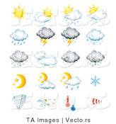 Vector of 20 Weather Related Forecast Icons by TA Images