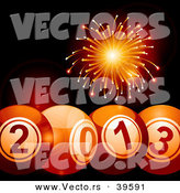 Vector of 2013 Bingo Balls Below with Orange Fireworks Exploding in the Background by Elaineitalia