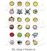 Vector of 24 Smileys; Happy, Mad, Depressed, Royal, Skull, Pirate, Children, Crying, and Sick by NL Shop
