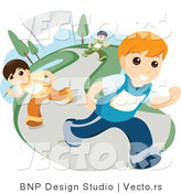 Vector of 3 Boys Running on a Path by BNP Design Studio