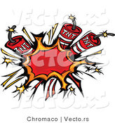 Vector of 3 Bursting Dynamite Sticks by Chromaco