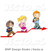 Vector of 3 Diverse Cartoon School Kids Walking up on an Arrow by BNP Design Studio