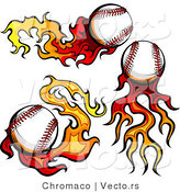 Vector of 3 Flaming Baseballs by Chromaco