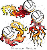 Vector of 3 Flaming Volleyballs by Chromaco