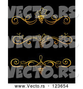Vector of 3 Gold Grape Vine Wine Divider Rules by Vector Tradition SM