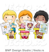 Vector of 3 Happy Diverse School Kids Holding up Their Drawings in Art Class by BNP Design Studio