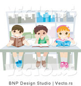 Vector of 3 Happy Young School Kids Reading Books in a Library by BNP Design Studio