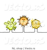 Vector of 3 Sick Human-like Stick Figure Cells and Germs by NL Shop