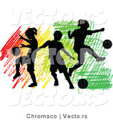 Vector of 3 Silhouetted Children Playing Soccer Ball over Colorful Scribbles by Chromaco