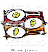 Vector of 3 Tennis Balls and Rackets by Chromaco