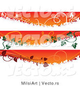 Vector of 3 Unique Autumn Fall Colored Banners with Vines - Digital Collage Borders by MilsiArt