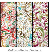 Vector of 3 Unique Colorful Vertical Floral Borders - Digital Collage by OnFocusMedia