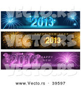 Vector of 3 Unique Firework Happy New Year 2013 Banners by Dero