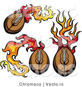 Vector of 3 Unique Flaming American Footballs by Chromaco