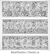 Vector of 3 Unique Header Vines - Black and White Digital Collage Designs by BestVector