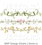 Vector of 3 Unique Ornate Floral Rule Dividers - Digital Border Collage by BNP Design Studio