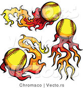 Vector of 3 Unique Softballs on Fire by Chromaco