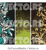 Vector of 3 Unique Vertical Floral Vines Borders - Digital Collage by OnFocusMedia