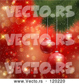 Vector of 3d Baubles Hanging from a Christmas Tree over Gold Bokeh and Red Snowflakes by KJ Pargeter