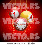 Vector of 3d Christmas Disco Balls Suspended over Red with Waves and Stars by Elaineitalia