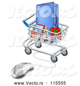 Vector of 3d Computer Mouse Connected to a Shopping Cart Full of Luggage and Travel Items by AtStockIllustration
