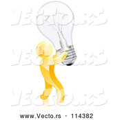 Vector of 3d Creative Gold Guy Carrying a Light Bulb by AtStockIllustration