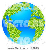 Vector of 3d Earth with Leaf Continents, Featuring the Atlantic by AtStockIllustration