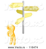 Vector of 3d Gold Guy at Crossroads Signs by AtStockIllustration