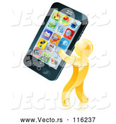 Vector of 3d Gold Guy Carrying a Giant Cell Phone by AtStockIllustration