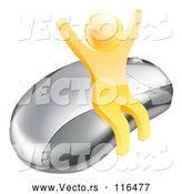 Vector of 3d Gold Man Cheering and Sitting on a Computer Mouse by AtStockIllustration