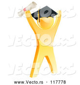 Vector of 3d Gold Man Graduate Cheering with a Diploma by AtStockIllustration