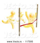 Vector of 3d Gold Men Racing, One Crossing the Finish Line by AtStockIllustration