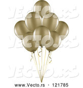 Vector of 3d Gold Party Balloons and Ribbons by KJ Pargeter