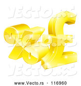 Vector of 3d Gold Percent and Pound Sterling Currency Symbols by AtStockIllustration