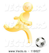 Vector of 3d Gold Person Playing Soccer by AtStockIllustration