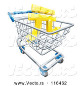 Vector of 3d Gold Yuan Currency Symbol in a Shopping Cart by AtStockIllustration