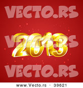 Vector of 3d Golden 2013 over Red Sparkling Background by Vectorace