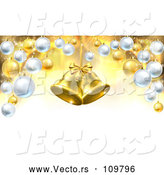 March 21st, 2018: Vector of 3d Golden Christmas Bells Suspended over a Background with Baubles by AtStockIllustration