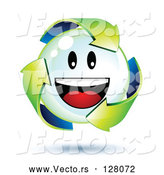Vector of 3d Green Recycle Arrows Around a Smiley Face Bubble by Beboy