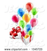 Vector of 3d Open Gift Box with Streamers and Colorful Party Balloons by AtStockIllustration