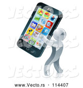 Vector of 3d Silver Guy Carrying a Giant Smart Phone by AtStockIllustration